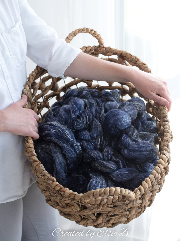 Polwarth/ Tencel 'Navy' 4 oz semi-solid blue spinning fiber, hand dyed wool for spinning, roving by the pound, Created by Elsie B combed top