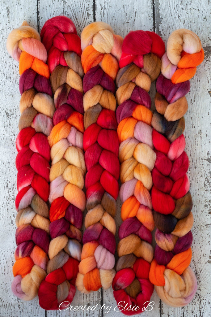 Organic Polwarth 'Spice Market' 4 oz red spinning fiber, orange wool roving for spinning, Created by Elsie B hand dyed brown combed top