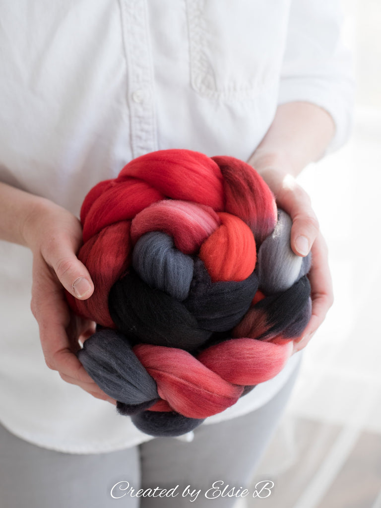 Rambouillet 'Midnight Valentine' 4 oz spinning fiber, red hand dyed roving, black combed top, CreatedbyElsieB gray wool roving by the pound