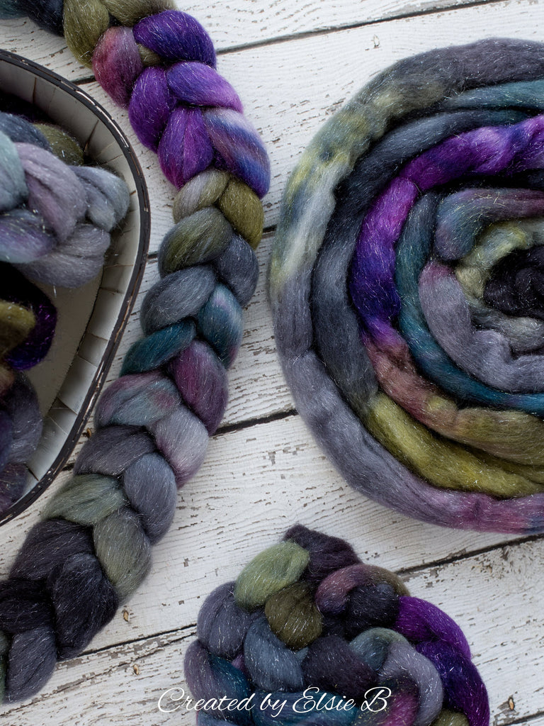 Merino/ Silver Sparkle 'Thistle' 4 oz  purple spinning fiber CreatedbyElsieB blue hand dyed roving, silver stellina green merino combed top