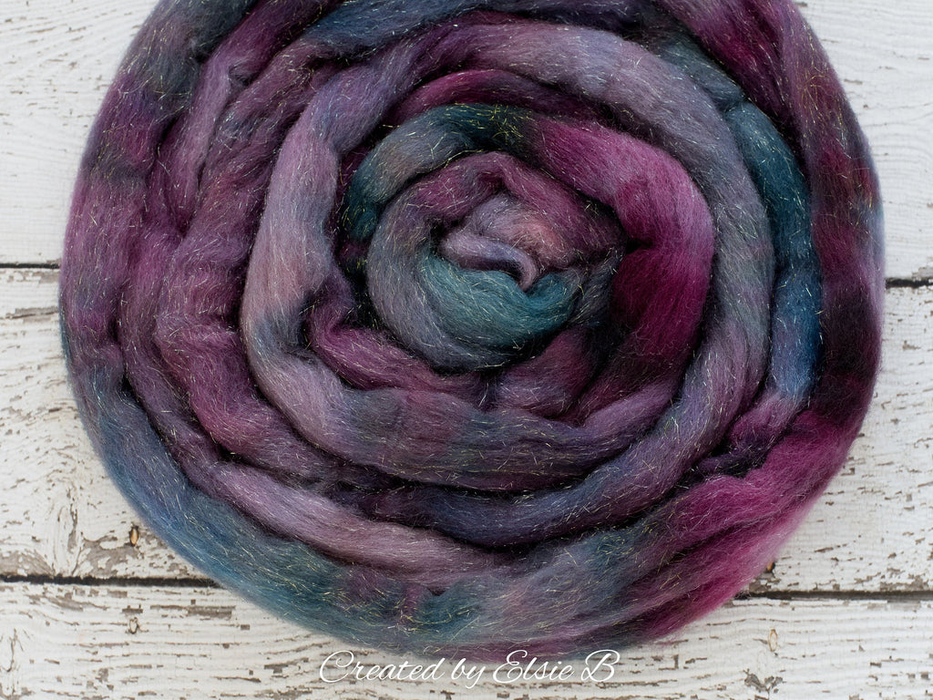 Merino/ Silver Sparkle 'Purple Nebula' 4 oz  semi-solid spinning fiber CreatedbyElsieB purple dyed roving, silver stellina merino combed top