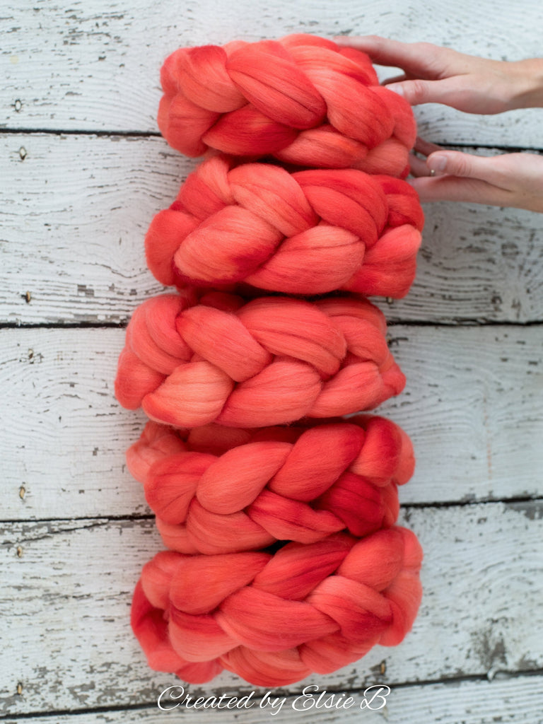 21 micron Merino 'Watermelon' 4 oz semi-solid combed top, red spinning fiber, hand dyed roving, Created by Elsie B wool roving by the pound