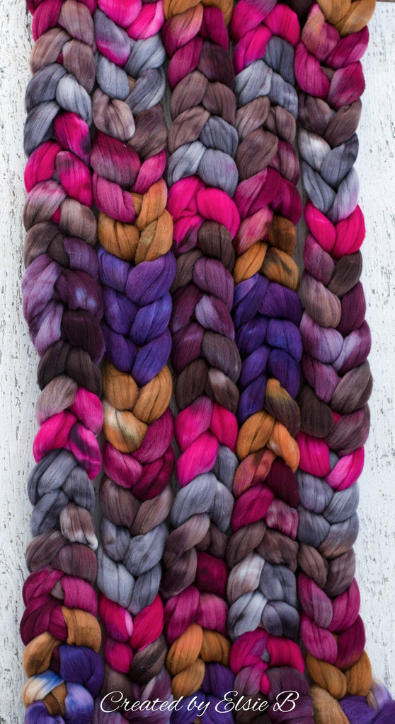 Rambouillet/ Nylon 'Stained Glass' 4 oz spinning fiber, purple hand dyed roving, brown roving by the pound, CreatedbyElsieB pink combed top