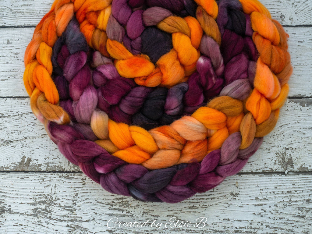 Organic Merino/ Cashmere 'Autumn Mum' 4 oz combed top, wool roving by the pound, hand dyed roving, Created by Elsie B orange spinning fiber