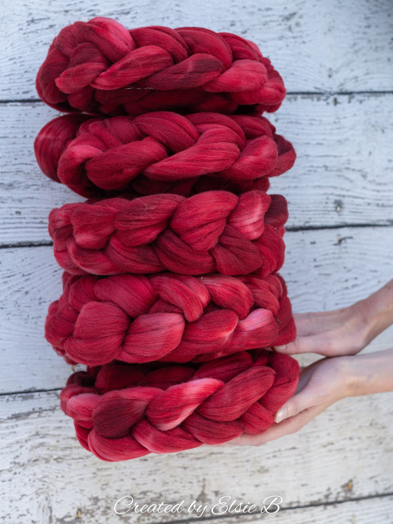 Rambouillet/ Nylon 'Desire' 4 oz semi-solid red dyed roving by the pound, CreatedbyElsieB hand dyed tonal combed top, fiber for spinning