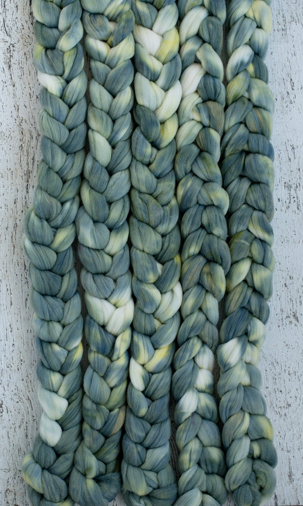 Rambouillet/ Nylon 'Silver Succulent' 4 oz semi-solid green dyed fiber by the pound, CreatedbyElsieB hand dyed combed top, wool for spinning