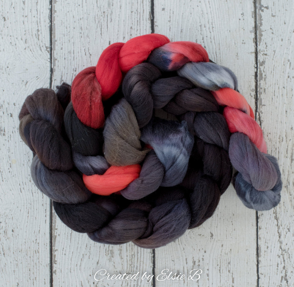 Rambouillet 'Ebony' 4 oz semi-solid spinning fiber, combed top, black wool, Created by ElsieB wool roving by the pound, hand dyed fiber