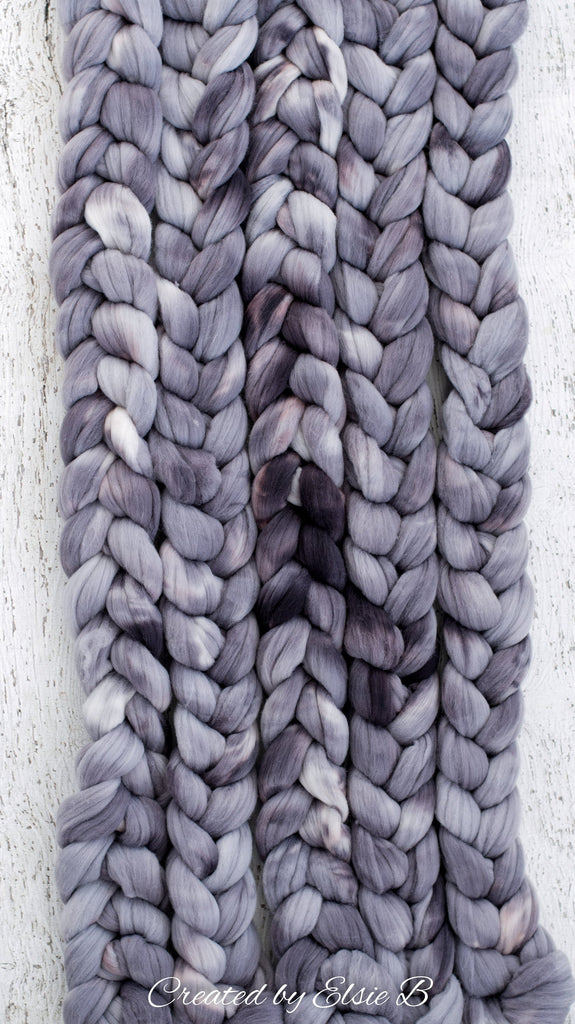Rambouillet/ Nylon 'Storm Cloud' 4 oz semi-solid gray dyed roving by the pound, CreatedbyElsieB hand dyed combed top, fiber for spinning