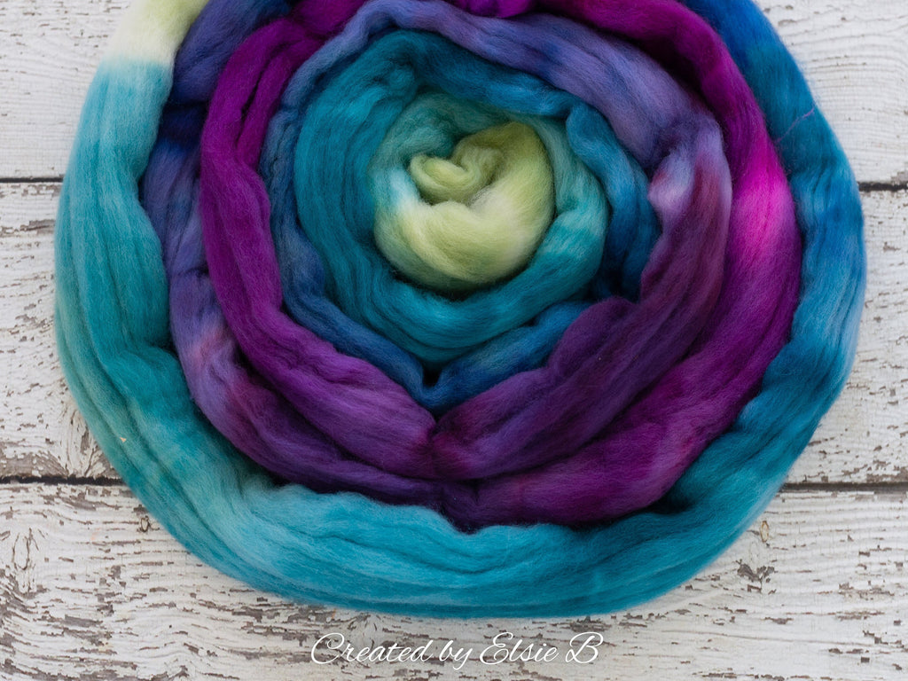 Organic Polwarth 'Dragonfly' 4 oz combed top, teal wool roving by the pound, purple hand dyed roving, Created by Elsie B blue spinning fiber