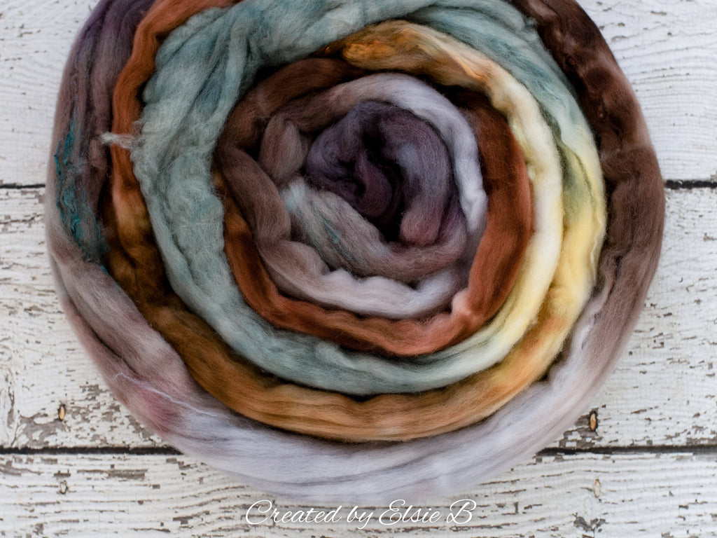 Superfine Merino/ Silk 'Wood Duck' 4 oz brown hand dyed roving, CreatedbyElsieB spinning fiber, gray combed top, mint wool roving