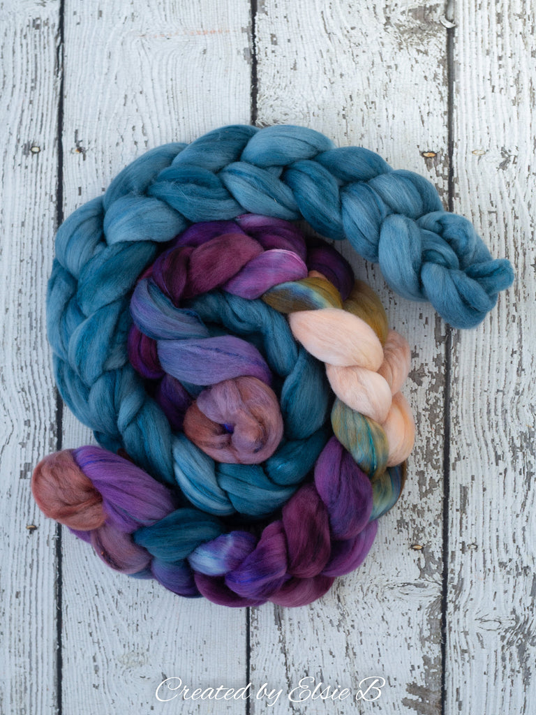 Superfine Merino/ Silk 'Typhoon' 4 oz semi-solid dyed roving, Created by Elsie B spinning fiber, blue combed top, wool for spinning
