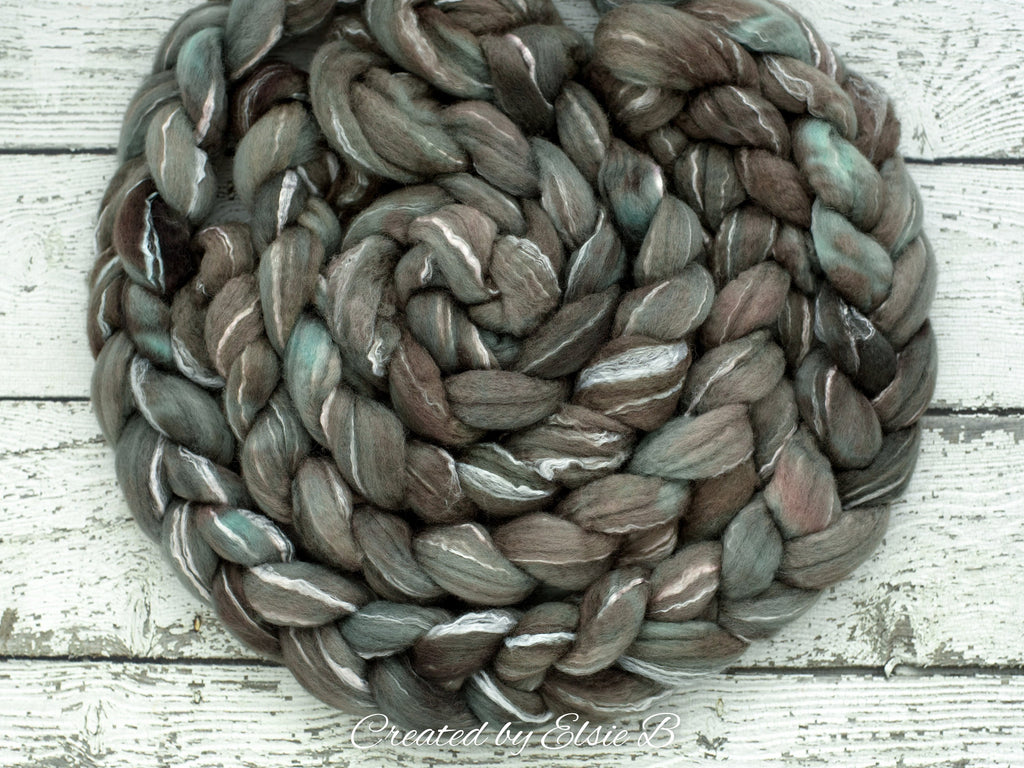 BFL/ Seacell 'Foggy Bay' 4 oz semi-solid hand dyed roving CreatedbyElsieB Blue Faced Leicester spinning fiber, wool roving by the pound
