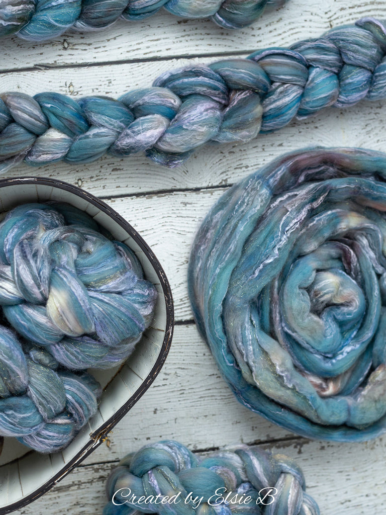 Merino/ Rose/ Gold Sparkle 4 oz  semi-solid 'Ice Castles' CreatedbyElsieB roving, merino stellina spinning fiber, hand dyed blue roving wool