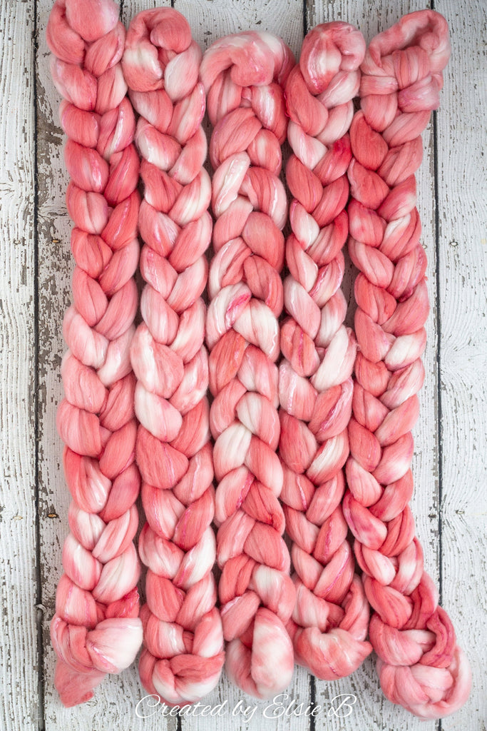Superfine Merino/ Silk 'Pink Coral' 4 oz semi-solid hand dyed roving, Created by ElsieB spinning fiber, pink combed top, wool for spinning