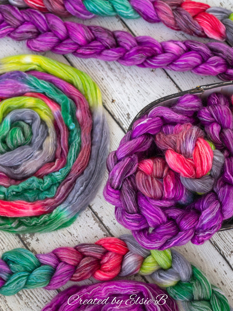 Falkland Merino/ Rose 'Berry' 4 oz purple semi-solid CreatedbyElsieB roving wool, dyed roving, neon combed top spinning fiber, felting wool