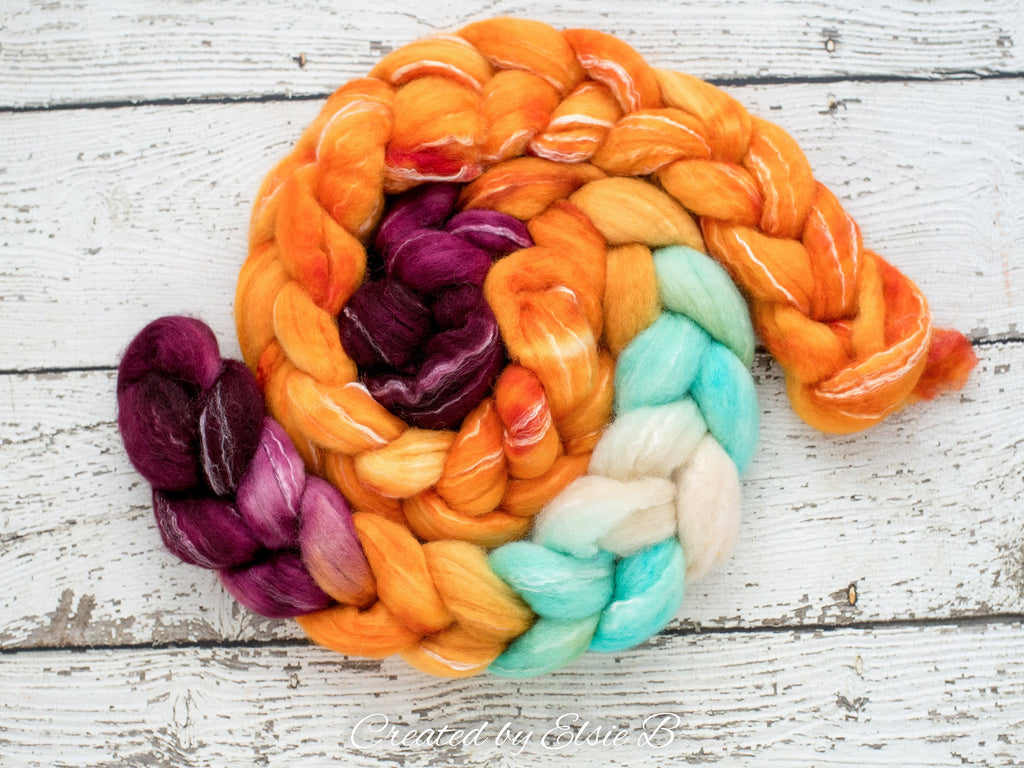 BFL/ Seacell 'Clementine' 4 oz semi-solid hand dyed roving CreatedbyElsieB Blue Faced Leicester spinning fiber, wool roving by the pound