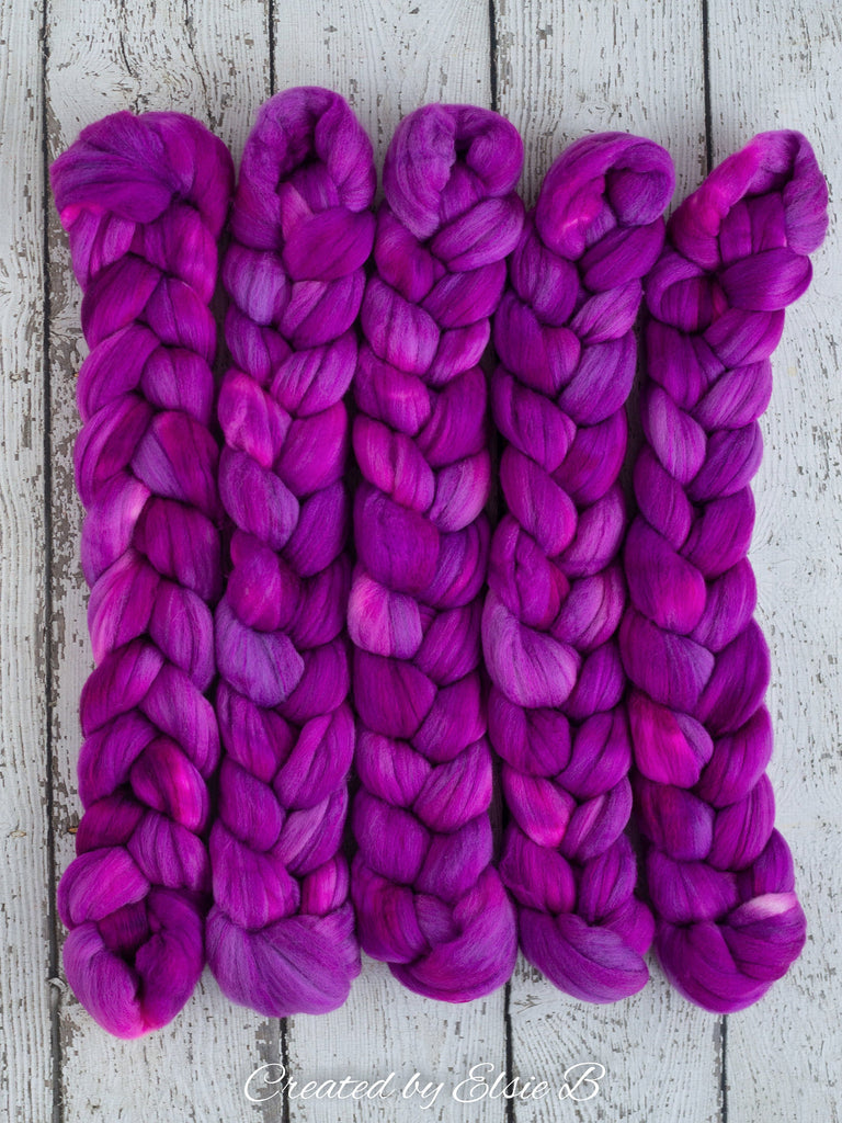 Polwarth/ Silk 'Berry' 4 oz semi-solid hand dyed spinning fiber, neon purple wool roving, Created by ElsieB combed top, wool & silk roving