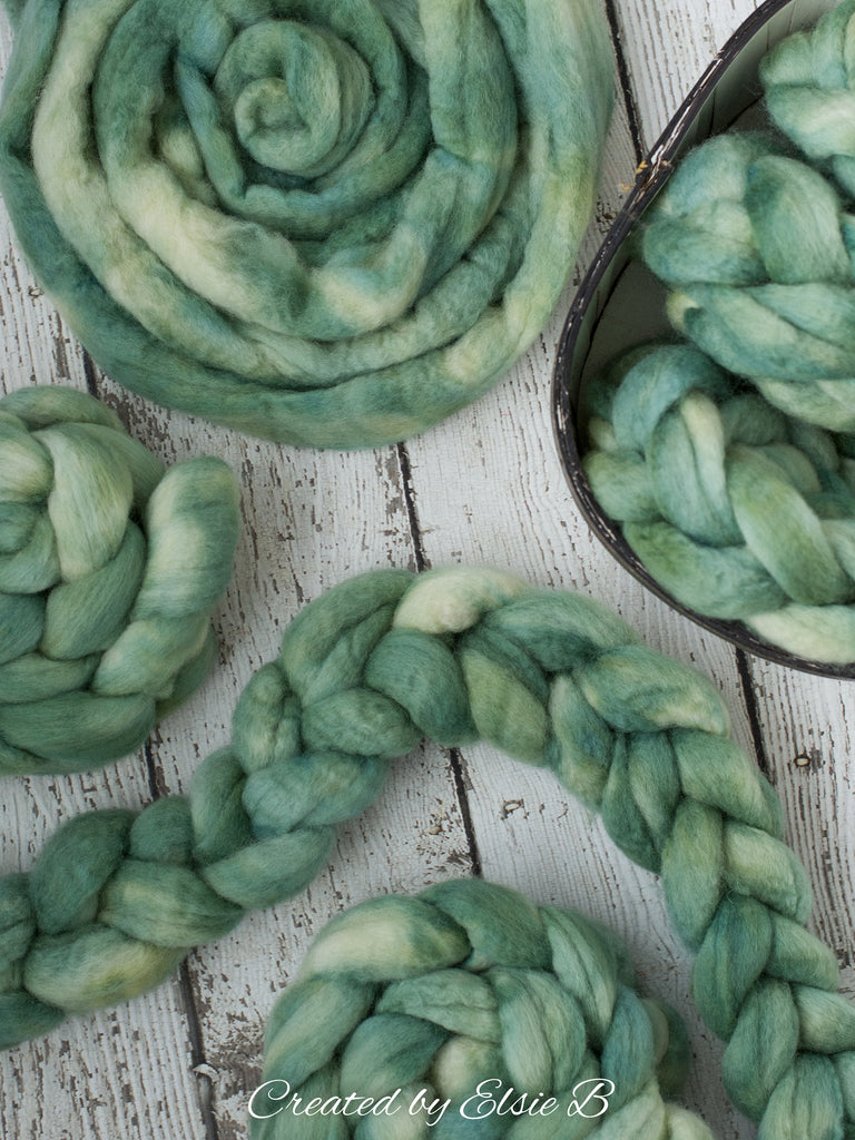 Blue Faced Leicester 'Lambs Ear' 4 oz semi-solid green combed top, BFL dyed spinning fiber, Created by Elsie B wool for felting or weaving