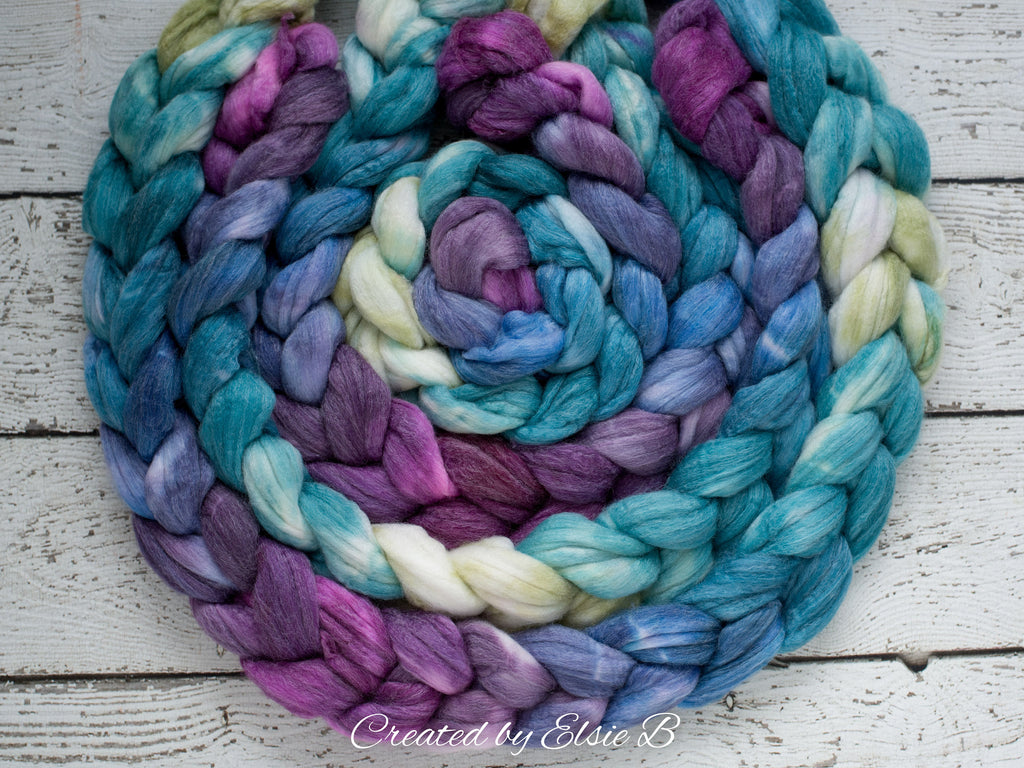 SW Merino/ Bamboo/ Nylon 'Dragonfly' 4 oz purple hand dyed roving for spinning, blue spinning fiber superwash roving, teal merino combed top