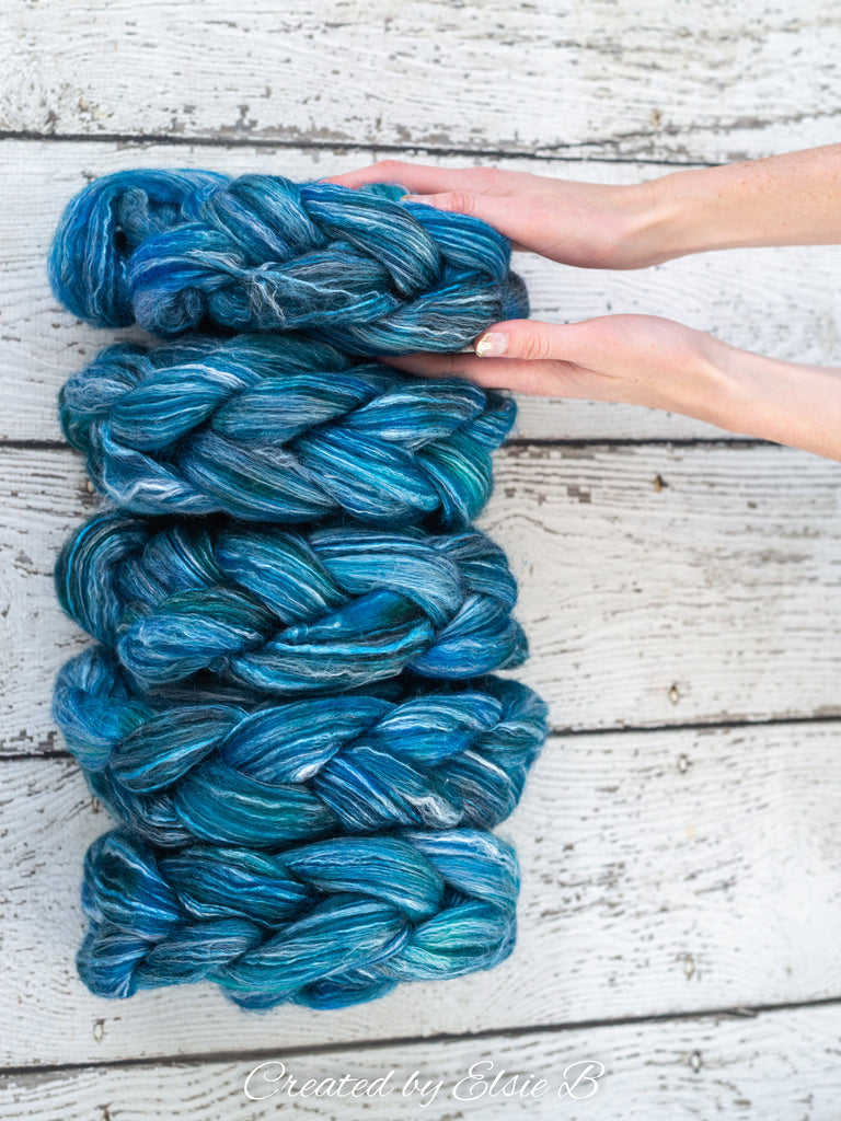 Falkland Merino/ Rose 'Blue Raspberry' 4 oz blue semi-solid CreatedbyElsieB wool, dyed roving, combed top spinning fiber, felting wool