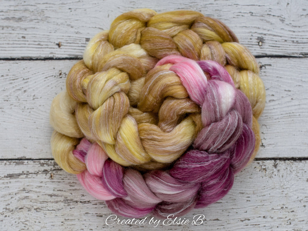 Corriedale/ Bamboo/ Silk 'Debutante' 4 oz pink wool Created by Elsie B hand dyed combed top, gold spinning fiber, wool roving for spinning