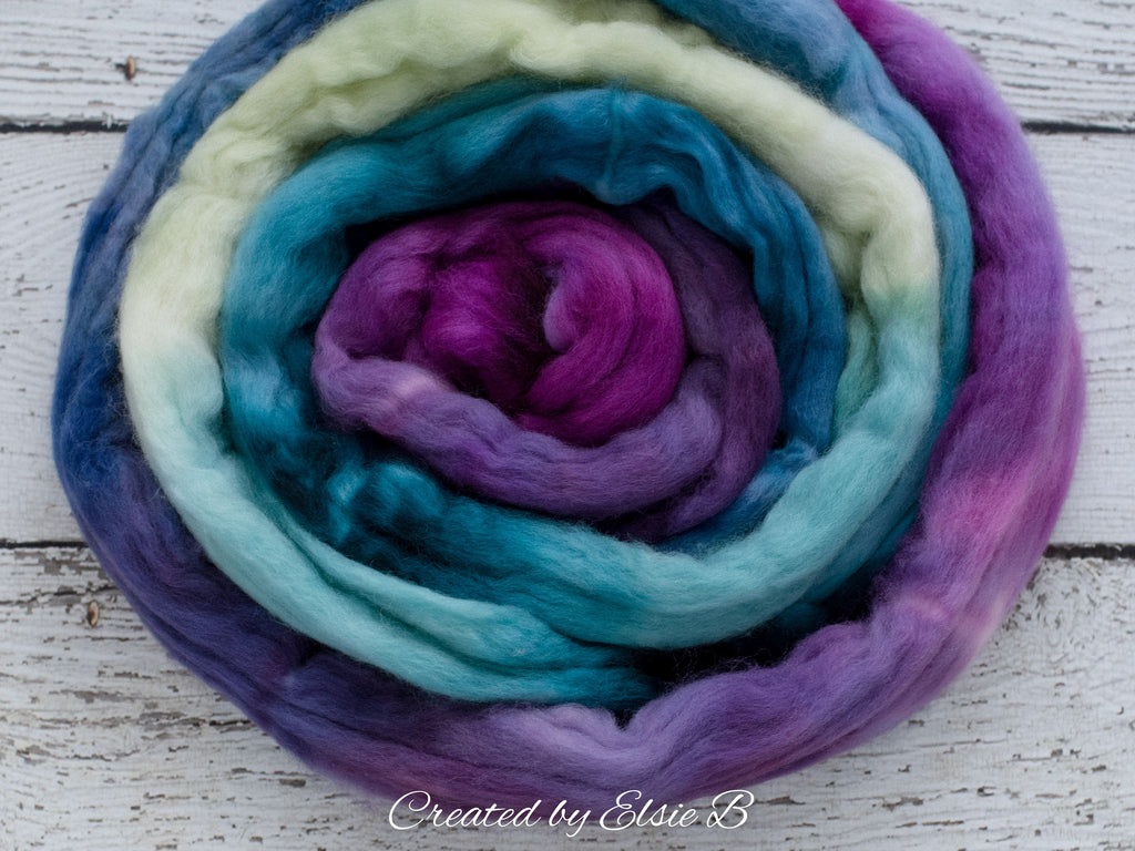 Organic Merino/ Cashmere 'Dragonfly' 4 oz combed top, wool roving by the pound, purple hand dyed roving, CreatedbyElsieB blue spinning fiber