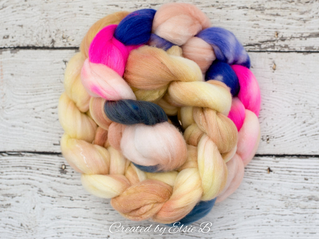 Polwarth/ Silk 'Confetti' 4 oz pink spinning fiber, purple wool, CreatedbyElsieB combed top, yellow wool silk roving for felting or weaving