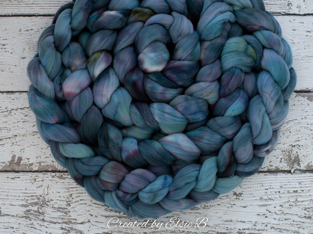 Targhee 'Abalone' 4 oz semi-solid hand dyed spinning fiber, blue dyed roving by the pound, Created by ElsieB combed top, wool roving