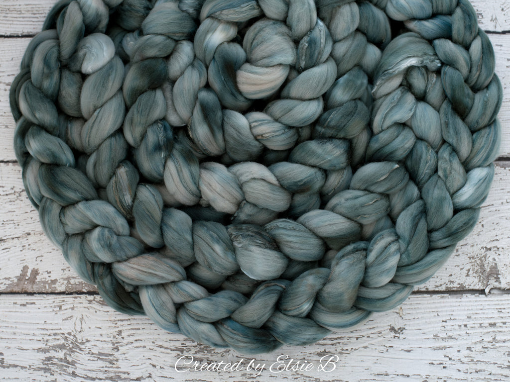Superfine Merino/ Silk 'Winter Pine' 4 oz semi-solid hand dyed roving, Created by ElsieB spinning fiber, green combed top, wool for spinning