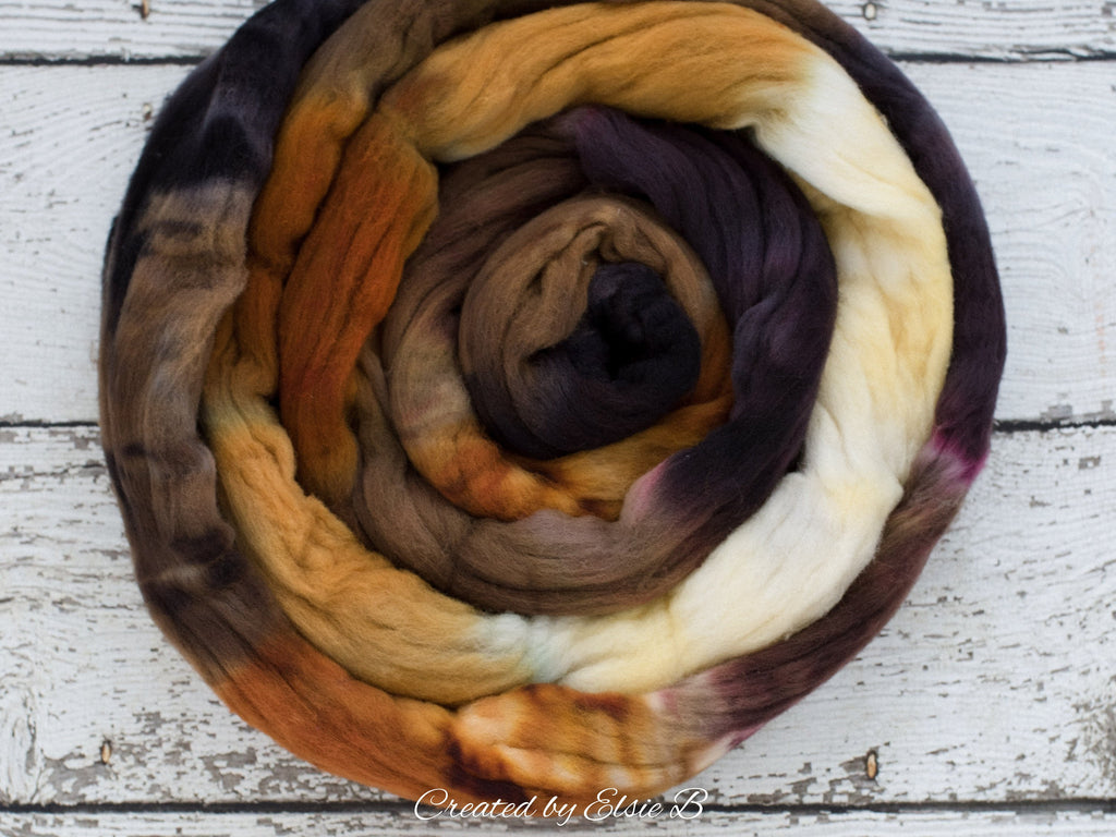 Rambouillet 'Burnt Smores' 4 oz hand dyed roving, tan combed top, brown spinning fiber, Created by ElsieB black wool roving by the pound