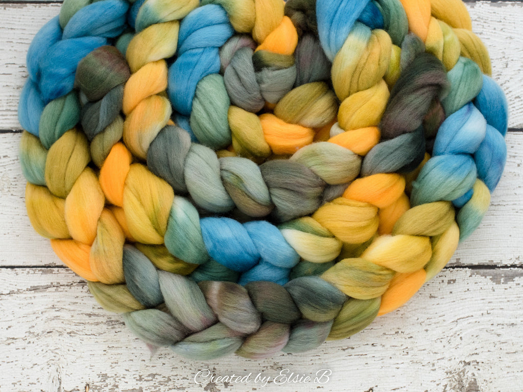 Polwarth 'Daffodil Morning' 4 oz yellow spinning fiber, blue wool roving for spinning, Created by Elsie B hand dyed green combed top