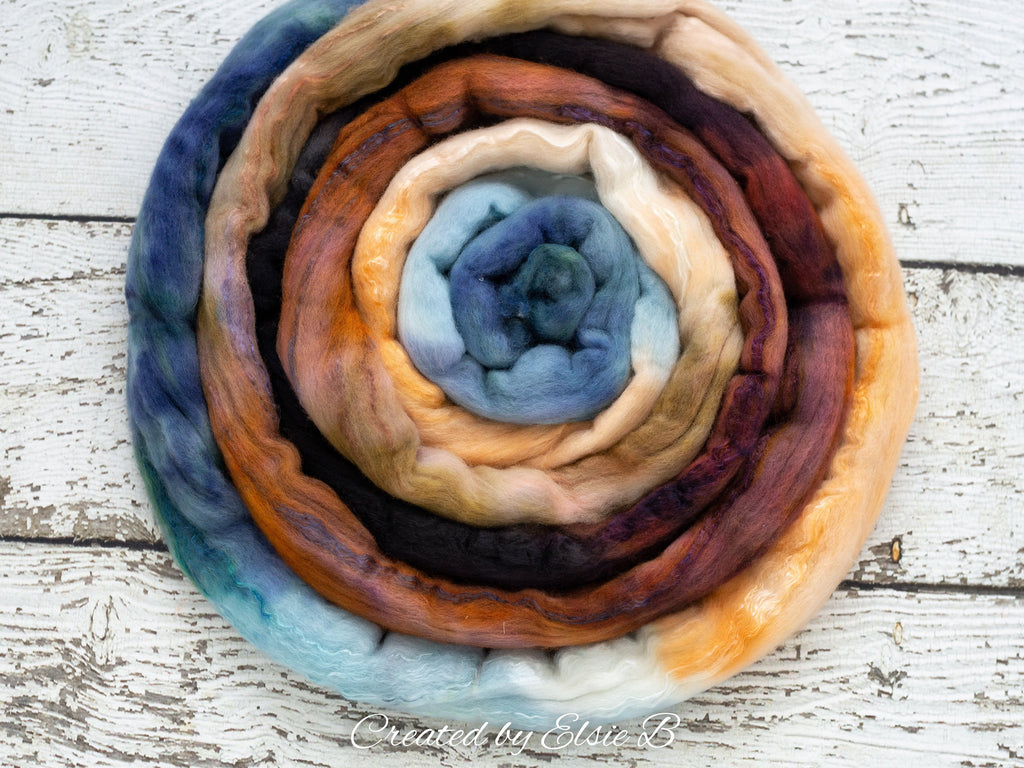 Superfine Merino/ Silk 'Chincoteague' 4 oz blue hand dyed roving, Created by Elsie B spinning fiber, brown combed top, black wool roving