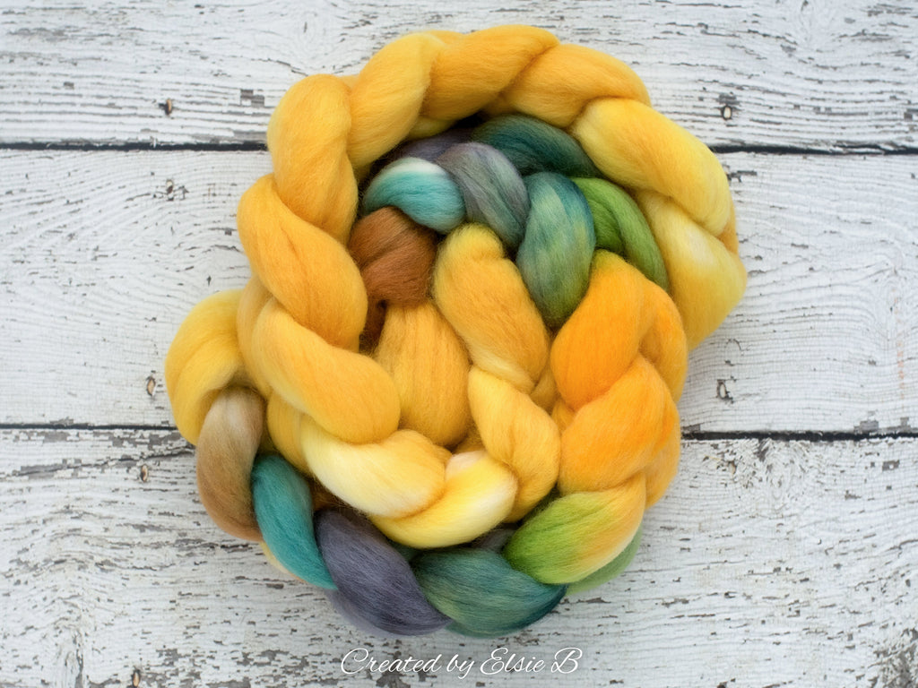 Corriedale 'August Days' 4 oz hand dyed gold combed top, gray spinning fiber, green wool roving for spinning, Created by ElsieB yellow fiber