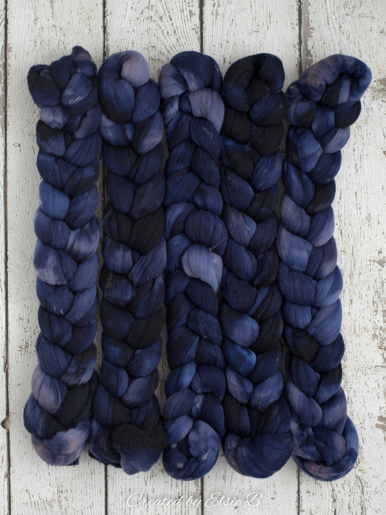 Targhee 'Navy' 4 oz semi-solid blue hand dyed spinning fiber, blue dyed roving by the pound, Created by ElsieB combed top, wool roving
