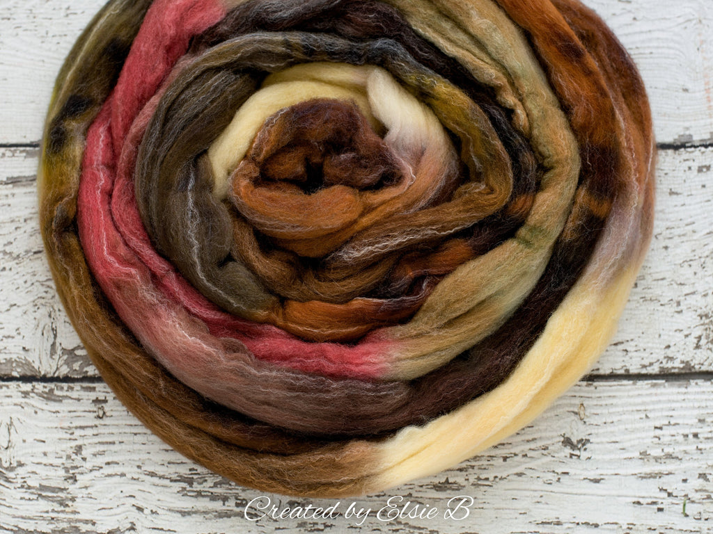 Targhee/ Bamboo/ Silk 'Spiced Cider' 4 oz brown spinning fiber, purple hand dyed roving by the pound, Created by ElsieB wool combed top