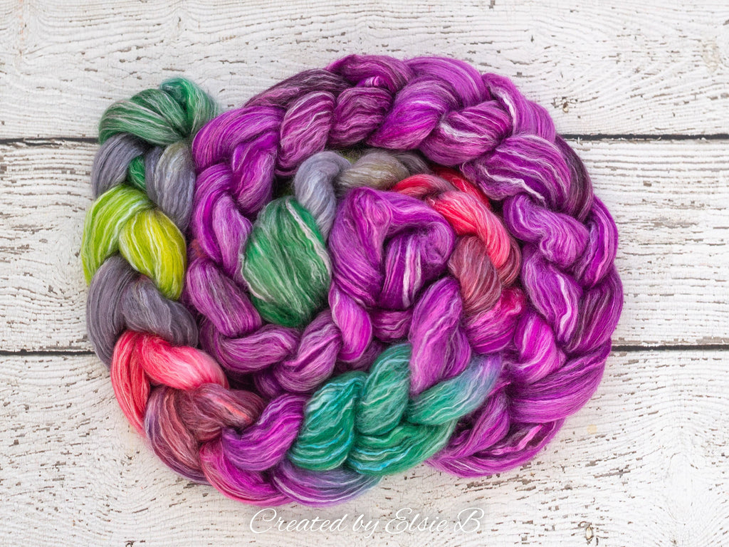 Falkland Merino/ Rose 'Hummingbird' 4 oz CreatedbyElsieB roving wool, purple dyed roving, red combed top spinning fiber, green felting wool
