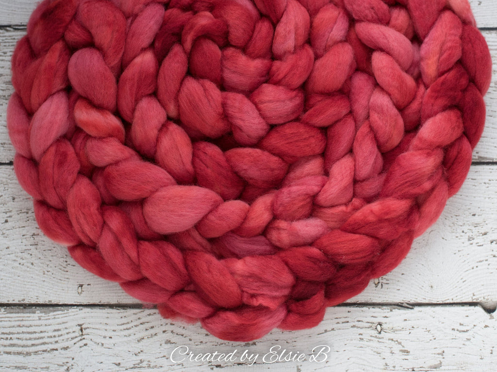 Blue Faced Leicester 'Cherry' 4 oz semi-solid red combed top, BFL dyed spinning fiber, Created by Elsie B wool roving for felting or weaving