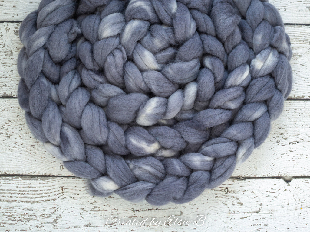 Blue Faced Leicester 'Titanium' 4 oz semi-solid gray combed top, BFL dyed spinning fiber, CreatedbyElsieB wool roving for felting or weaving