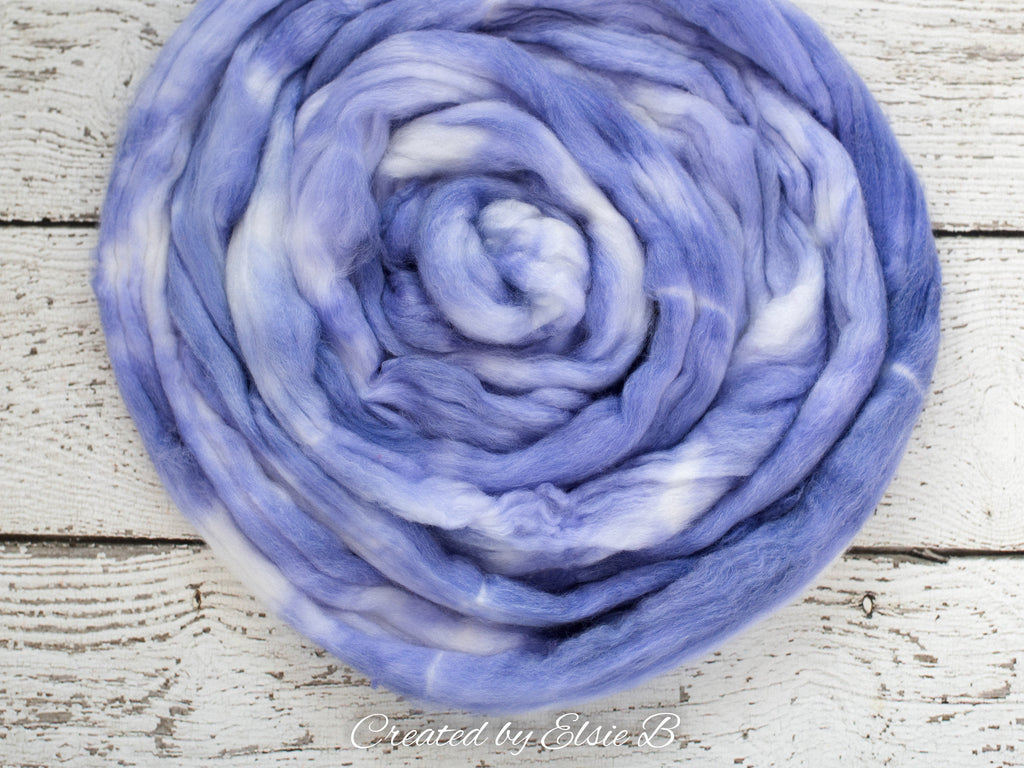 SW Merino/ Bamboo/ Nylon 'Lavender Milk' 4 oz semi-solid superwash roving, merino wool combed top, handdyed roving for spinning by the pound