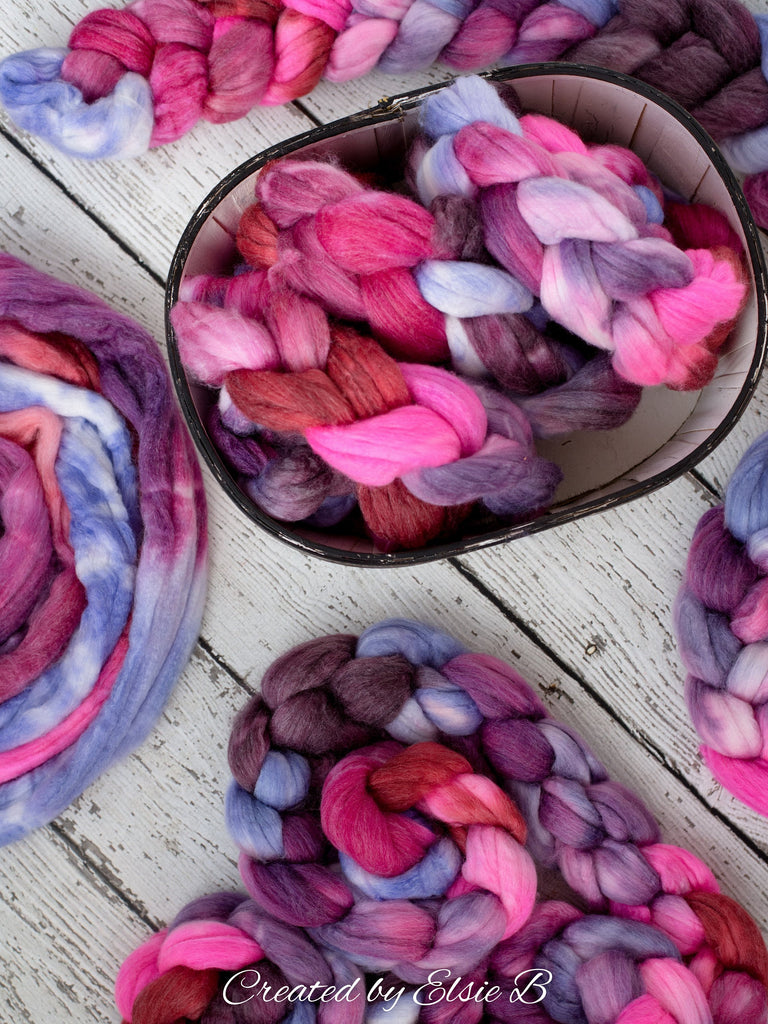 SW Merino/ Bamboo/ Nylon 'Hello Love' 4 oz red hand dyed roving for spinning, pink spinning fiber superwash roving, purple merino combed top