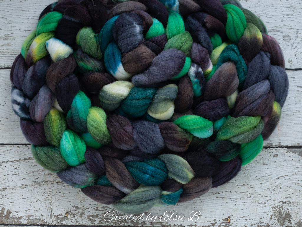 Polwarth/ Silk 'Cliffs of Moher' 4 oz green spinning fiber, green wool, Created by Elsie B combed top, gray wool & silk roving for felting