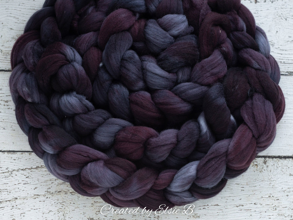 Polwarth/ Silk 'Ebony' 4 oz semi-solid hand dyed spinning fiber, black wool roving, Created by ElsieB combed top, wool & silk roving
