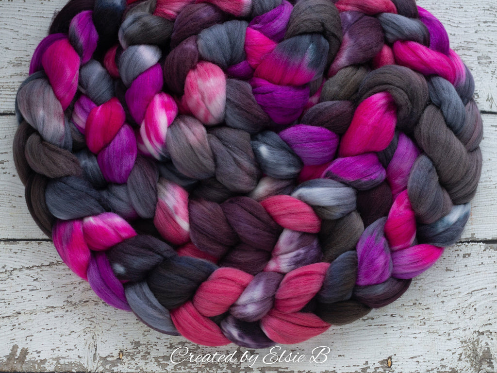 Polwarth/ Silk 'Derby Girl' 4 oz pink spinning fiber, purple wool, CreatedbyElsieB combed top, black wool silk roving for felting or weaving