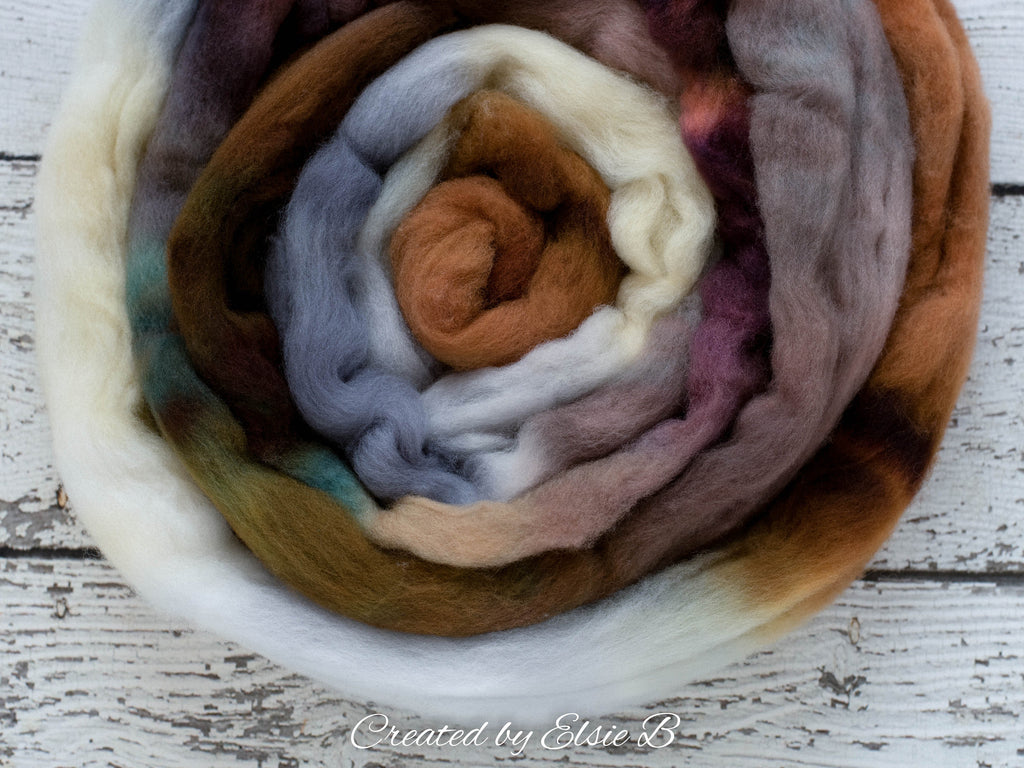 Organic Merino/ Cashmere 'Camping Trip' 4 oz gray combed top, wool roving by the pound handdyed roving, CreatedbyElsieB brown spinning fiber