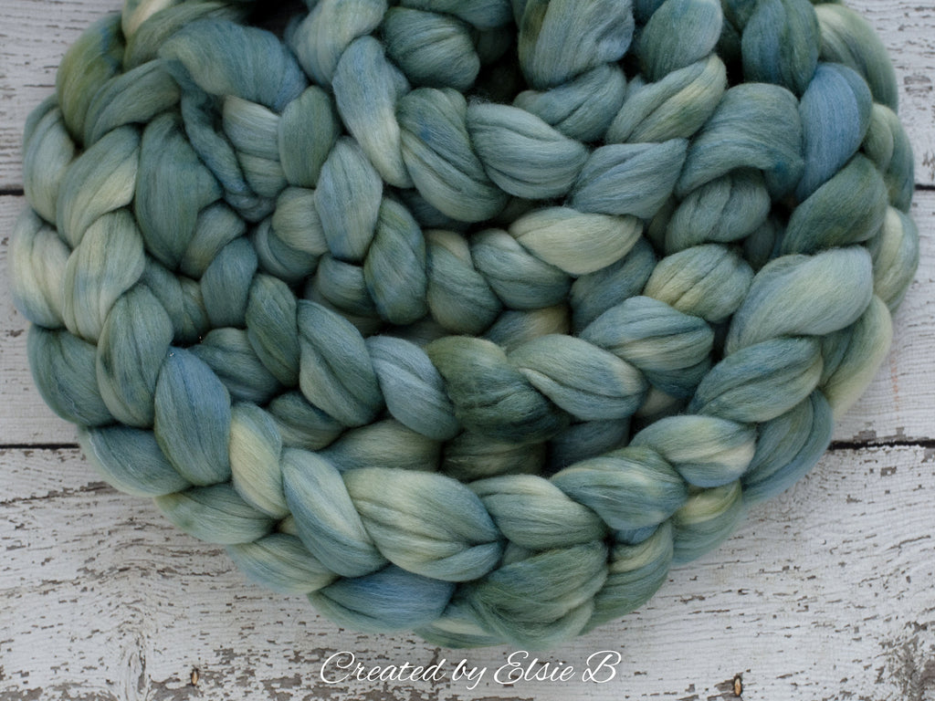 Polwarth/ Silk 'Patina' 4 oz semi-solid dyed spinning fiber, green wool roving, Created by ElsieB combed top, wool & silk roving for weaving