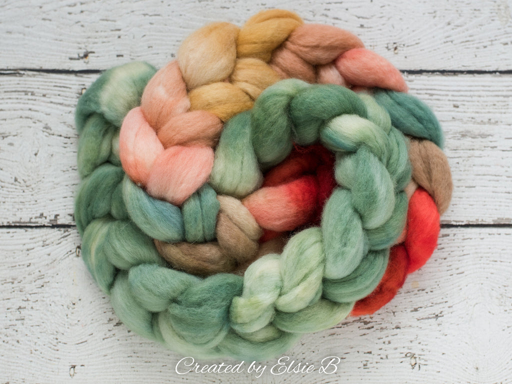 Blue Faced Leicester 'Vintage Christmas' 4 oz combed top, BFL hand dyed spinning fiber, Created by ElsieB red roving for spinning or felting