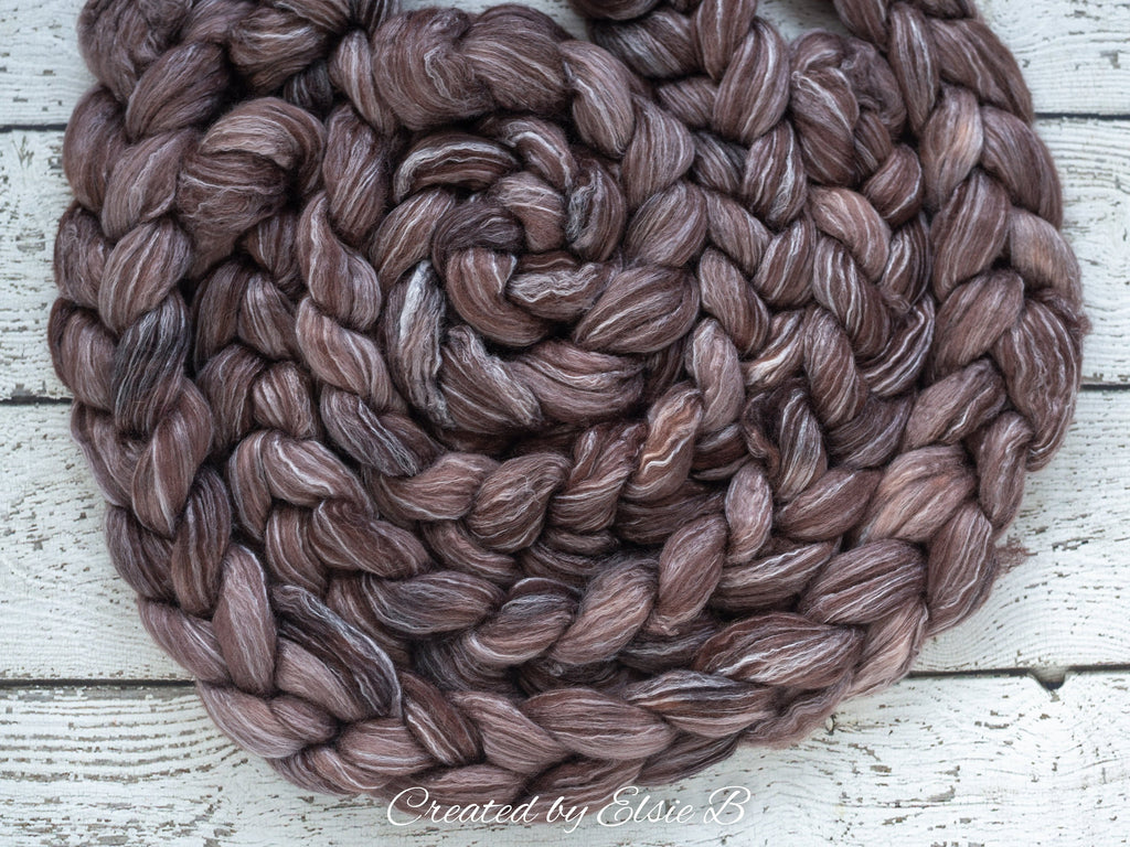 Falkland Merino/ Rose 'Truffle' 4 oz brown semi-solid Created by Elsie B roving wool, dyed roving, combed top spinning fiber, felting wool
