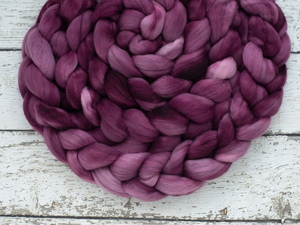 Corriedale 'Boysenberry' 4 oz semi solid hand dyed purple combed top, spinning fiber, wool roving for spinning, Created by ElsieB gold fiber