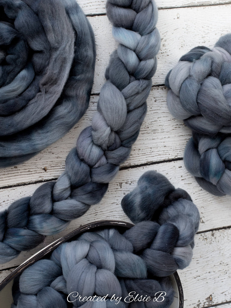 Polwarth 'Midnight Swim' 4 oz semi-solid combed top for spinning, Created by ElsieB spinning fiber, hand dyed wool roving, learning to spin