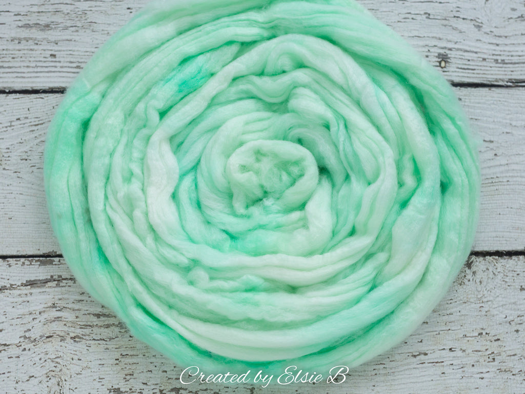 SW Merino/ Bamboo/ Nylon 'Peppermint Mousse' 4 oz semi-solid mint superwash roving, merino wool combed top, roving for spinning by the pound